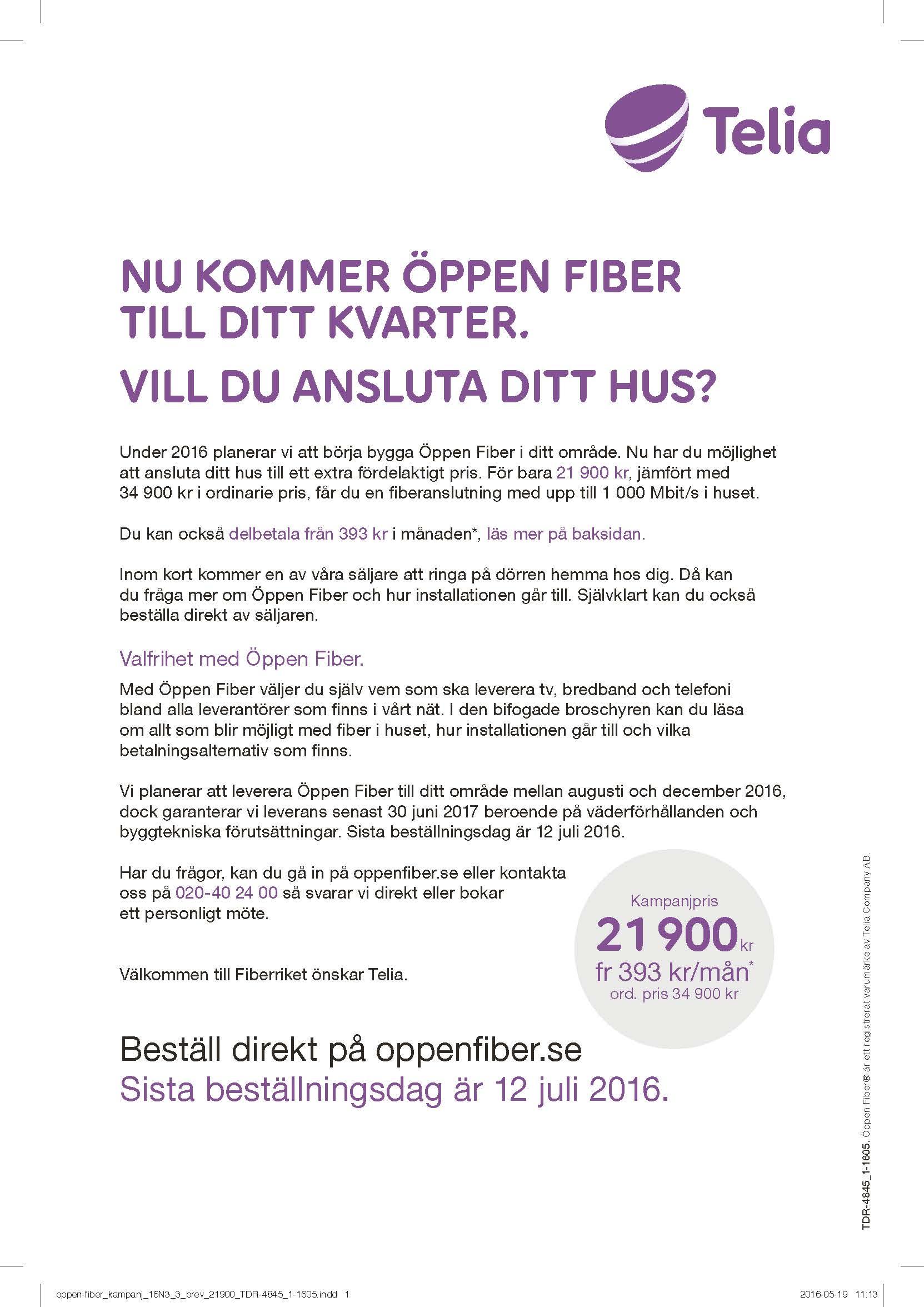 telia fiber kampanj
